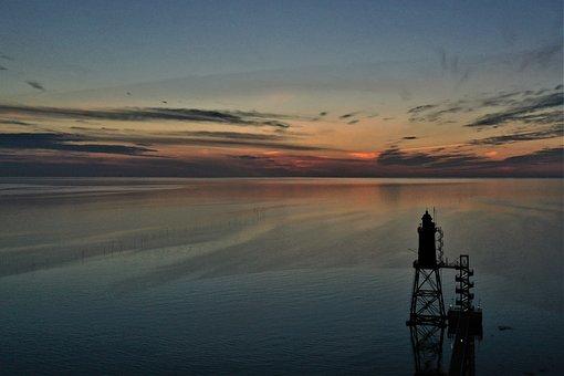 Lighthouse, Sunset, Clouds, Sky, Landscape, Beach