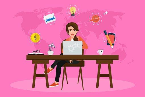 Woman, Laptop, Computer, Desk, Office, Office Supplies