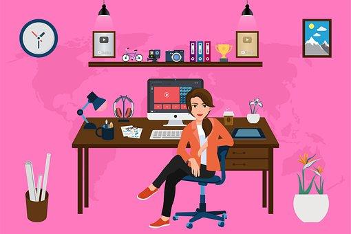 Woman, Desk, Computer, Office, Office Supplies, Working