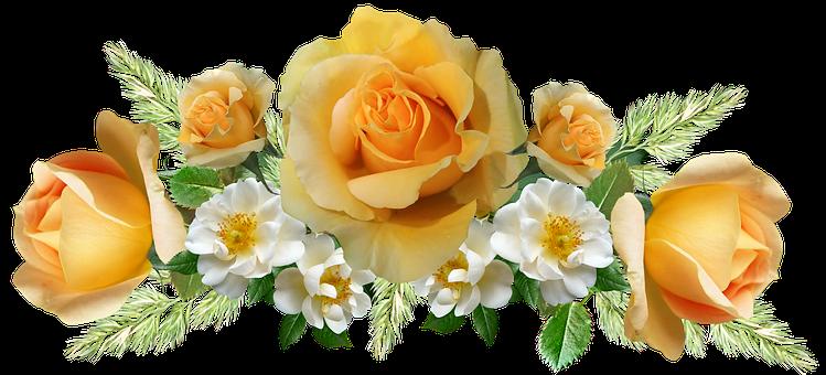 Flowers, Arrangement, Roses, Yellow, Decoration