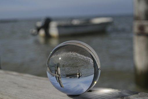 Ball, Glass, Water, Boat, Glass Ball, Coast, Vacations