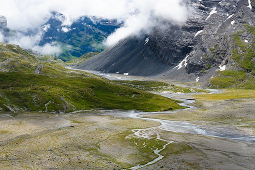 Alpine, Mountain Stream, High Valley, Meander, Valais