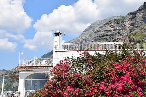 House, Balcony, Building, Mountains, Clouds, Sky