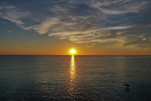 Sunset, Clouds, Sky, Landscape, Beach, Nature, Sea