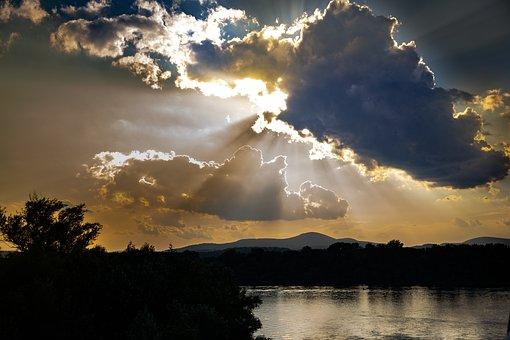 Sunshine, Lake, Sunset, Overcast, Water, Landscape
