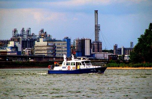 Port, Rhine, Ship, Police, Industry, Industriehafen