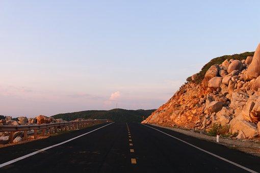 Road, Mountain, Rocks, Open Road, Lanes, Railing
