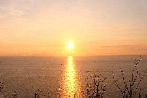 Sunrise, Water, Sea, Boats, Sunset
