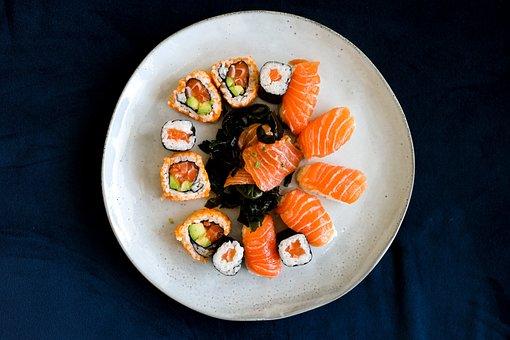 Sushi, Salmon, Seafood, Sashimi, Asian, Wasabi, Healthy