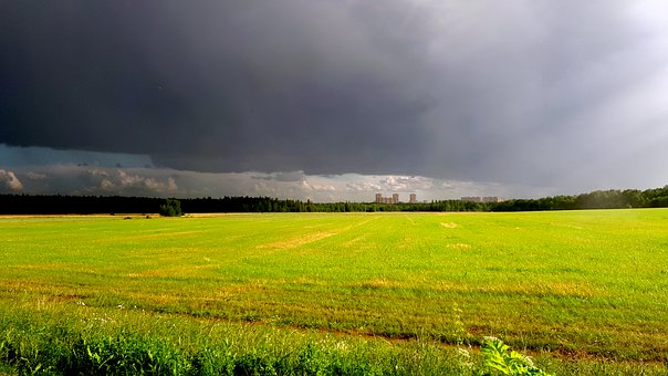 Field, Clouds, Thunderstorm, Sky, Panorama, Horizon