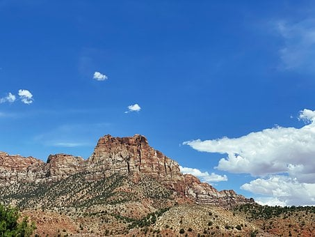 Mountain, Hill, Rock, Zion, Utah, Ut, National Park