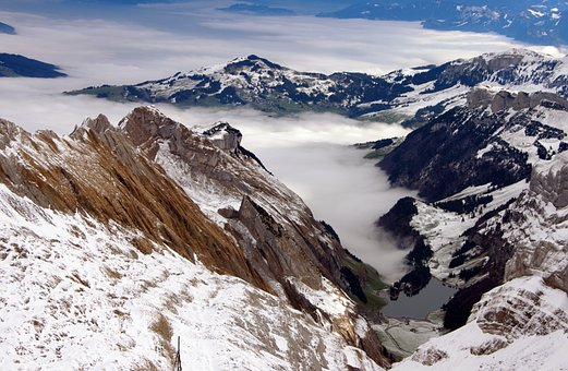 Mountains, Fog, Valley, Hills, Snow, Alps, Alpine