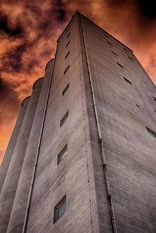 Building, Facade, Architecture, Silo, Windows, Sky