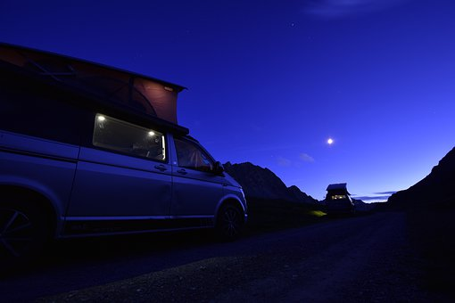 Camping, Moon, Night, Camper Van, Van, Volkswagen