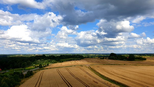 Fields, Sky, Clouds, Nature, Cumulus, Valley, Trail