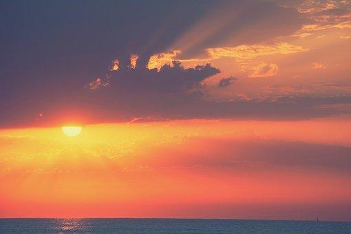 Landscape, Dawn, Sea, Sky, Sun, Clouds, Rays
