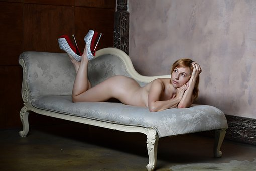 Erotica, Nude, Naked, Body, Figure, Sofa, Shoes, Sexy