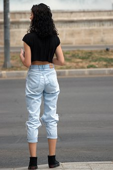 Girl, Young, Person, Jeans, Sexy, Waiting For, Street