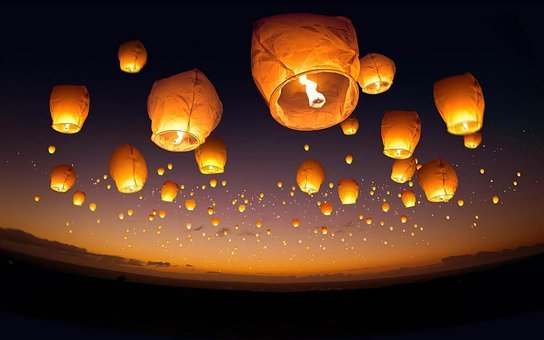 Balloons, Candle, Fire, Flame, Sky, Lights, Festival