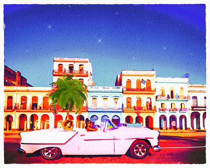 Watercolor Painting, Cuba Background, Havana, Old Cars