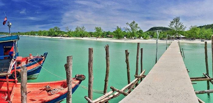 Beach, Sea, Paradise, Pier, Bridge, Saracen, Blue