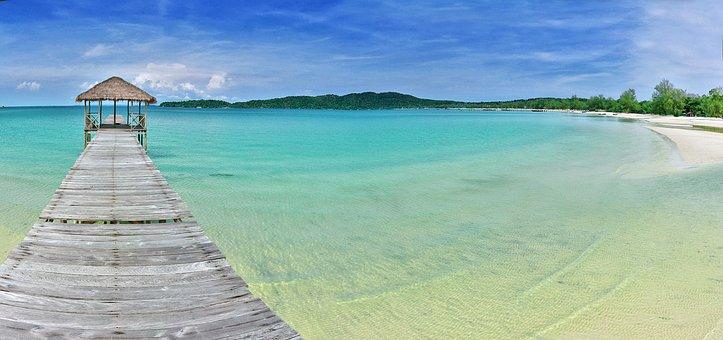 Pier, Beach, Sea, Sun, Sand, Paradise, Tropical, Ocean