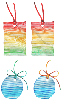 Rainbow Tags, Paper, Postmarked, Stamps, Stationery