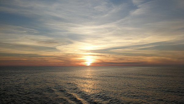 Sunset, Cumulus, Waves, Horizon, Sea, Clouds, Sun