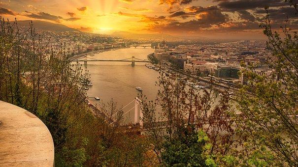 Danube, River, City, Budapest, Hungary, Sunset