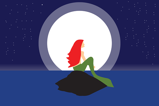 Mermaid, Sea, Rock, Wave, Moon, Woman, Fish, Stars