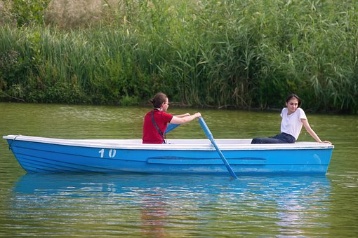 The Young Couple, The Boy, Rowing, Girl, Relaxing, Boat