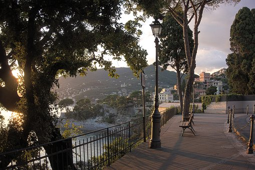 Villages, Sunset, Sunrise, Recco, Camogli, Genoa