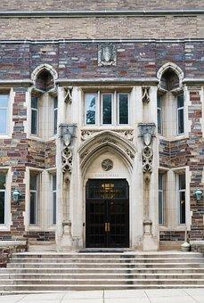 Building, Campus, Princeton, Historical, Entrance, Door