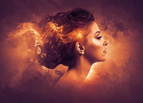 Woman, Young, Beauty, Make Up, Hair, Flames, Combustion