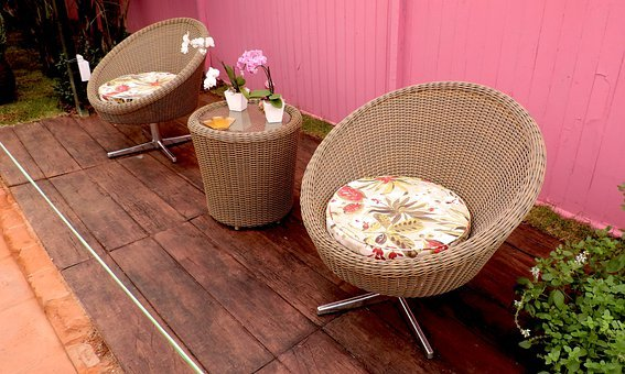 Chairs, Table, Lounge, Cushions, Flowers, Decoration
