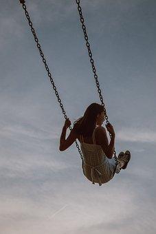 Girl, Swing, Sky, Dress, Woman, Female, Clouds, Fun