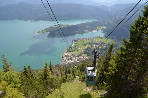 Lake, Cable Car, Trees, Herzogstand, Walchensee