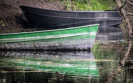 Boat, Kahn, Mirroring, Rowing Boat, Rest, Silent, Pier