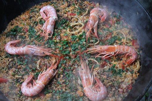 Shrimp, Prawns, Paella, Cooking, Dish, Kazan, Kitchen