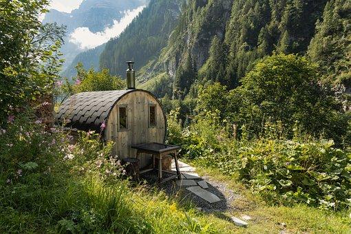 Sauna, Idyllic, Wooden Barrels, Mountains, Valley