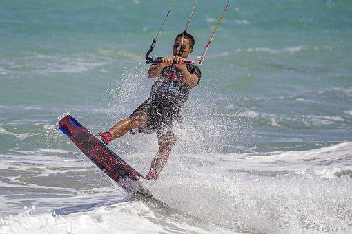 Man, Board, Parachute, Ocean, Wave