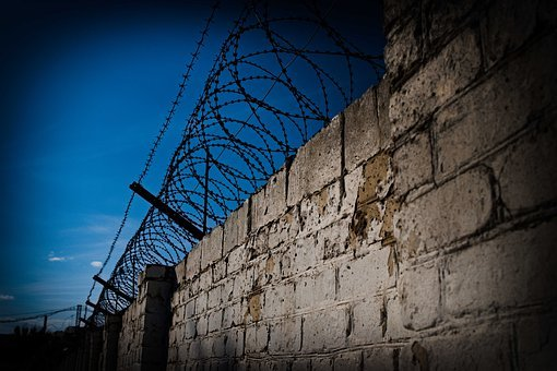 Barbed Wire, Wall, Sky, Area, Prison, Offense, Cruel