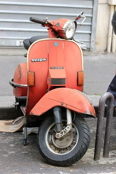 Motorcycle, Scooter, Vespa, Wheels, Retro, Tires