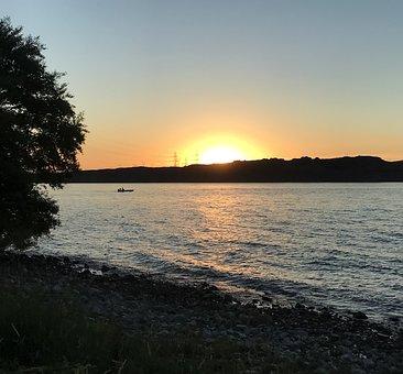 River, Sunset, Boat, Columbia River, Landscape, Scenic