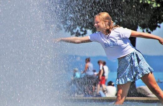 Girl, Water, Fountain, Splash, Shower, Drops, Summer