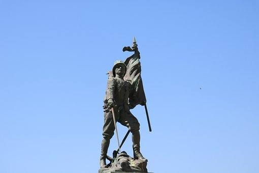 Soldier, Statue, Figure, Sculpture, Flag, Sky, Justice