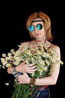 Woman, Flowers, Bouquet, Hippie, Sunglasses, Choker