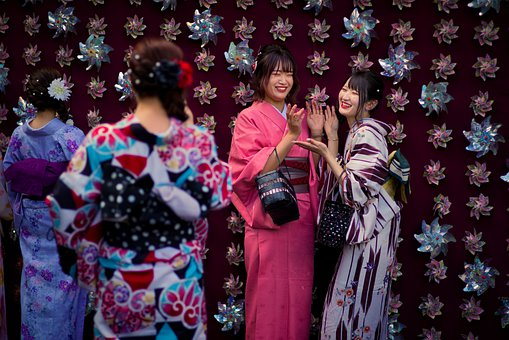 Girls, Women, Kimono, Tradition, Temple, Senso-ji