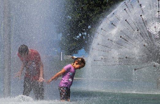 Kids, Fountain, Water, Splash, Childhood, Spray, Hot