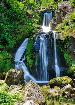 Waterfall, Falls, Forest, Rocks, River, Leaves, Moss